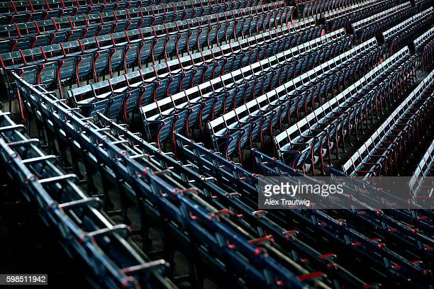 Seats are seen prior to the game between the Tampa Bay Rays and the Boston Red Sox at Fenway Park on Monday August 29 2016 in Boston Massachusetts