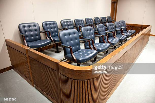 Seats at courtroom jury designed box