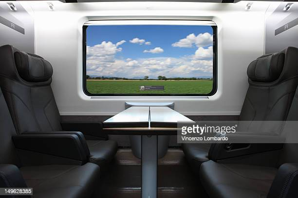 Seats in a business class train carriage