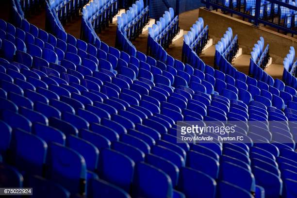 Seats in the Glwadys Street stand at Goodison Park before the Premier League match between Everton and Chelsea at the Goodison Park on April 30 2017...