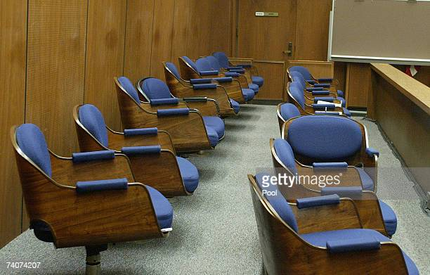 Seats in the jury box sit empty during a hearing at Los Angeles Superior Court May 4 2007 in Los Angeles California Spector is accused of the murder...