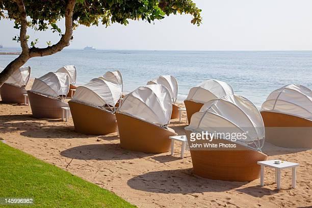 Seats on beach at Nusa Dua. Bali. Indonesia.