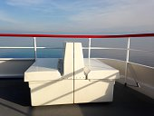 Seats On Boat Over Bodensee Lake Against Sky
