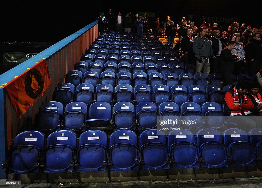 96 seats reserved for the 96 fans who lost their lives at the Hillsborough disaster during the FA Cup Third Round match between Mansfield Town and Liverpool at One Call Stadium on January 6, 2013 in Mansfield, England.