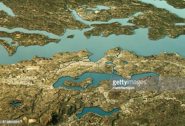 Seattle 3D Landscape View East-West Natural Color