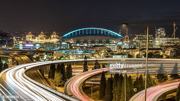 Seattle and curved road light trails