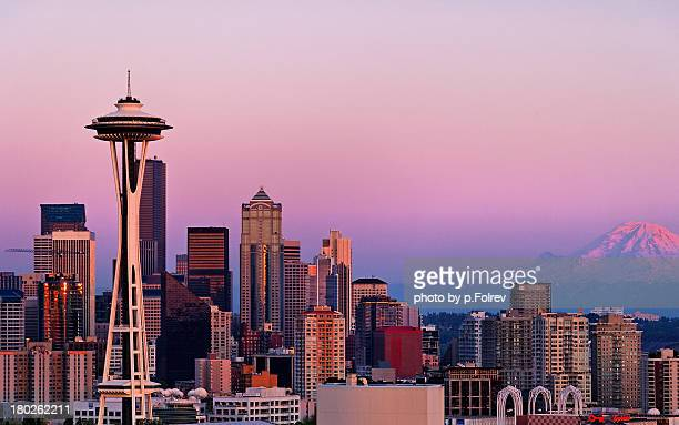 Seattle and Mt Rainier after sunset