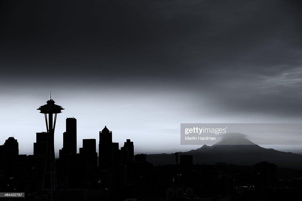 B&W Seattle cityscape