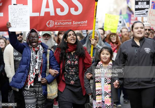 Seattle Councilmember Kshama Sawant and others march in protest the detention of Daniel Ramirez Medina a Deferred Action for Childhood Arrivals...