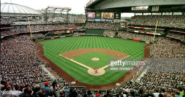 Seattle inaugurates the new Safeco Field during a game against the San Diego Padres 15 July 1999 with pitcher Jamie Moyer of the Seattle Mariners...