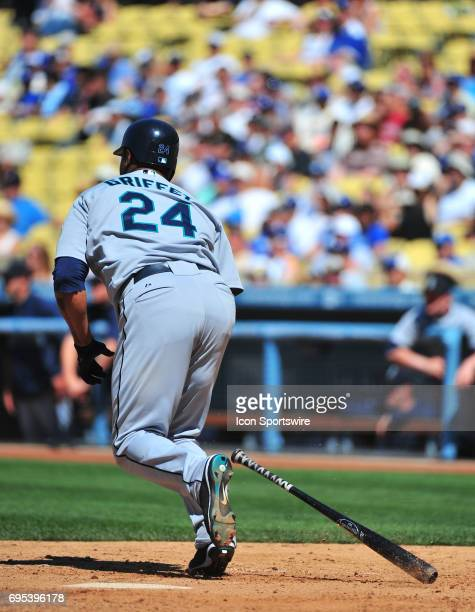 Seattle Mariners 24 Ken Griffey Jrduring a Major League Baseball game between the Seattle Mariners and the Los Angeles Dodgers at Dodger Stadium in...