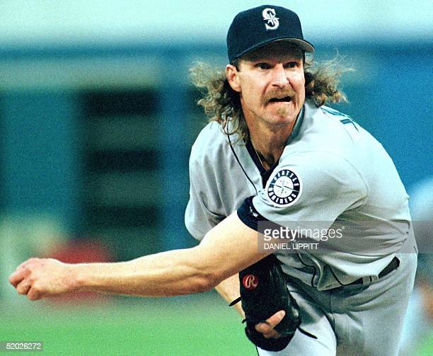 Seattle Mariners' ace Randy Johnson follows through on a pitch to the Chicago White Sox during the second inning of their game at Comisky Park in...
