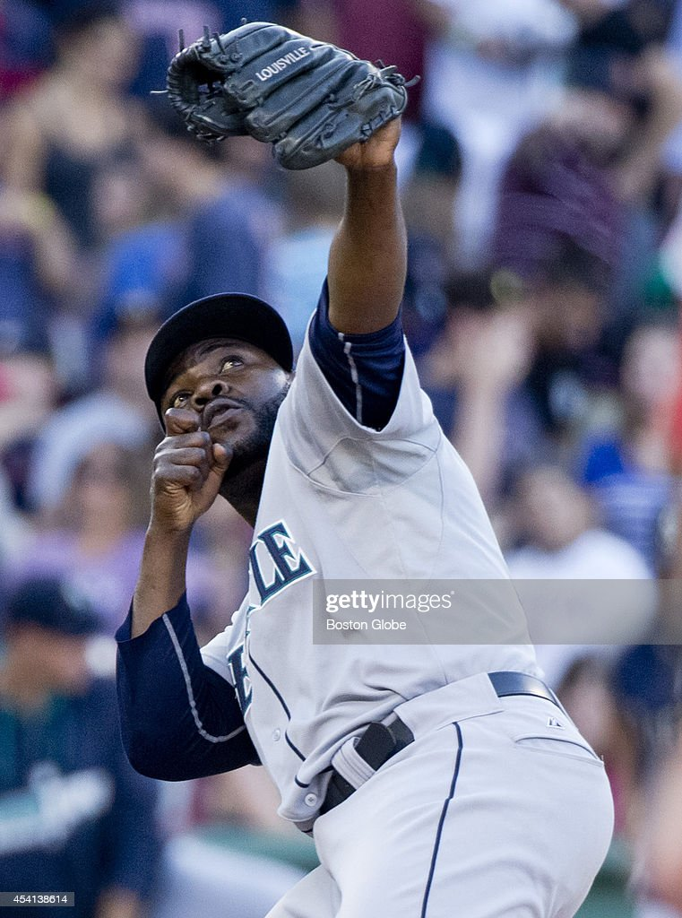 Seattle Mariners closing pitcher Fernando Rodney strikes his pose after shutting down the Boston Red Sox during ninth inning action at Fenway Park on Sunday, August 24, 2014.