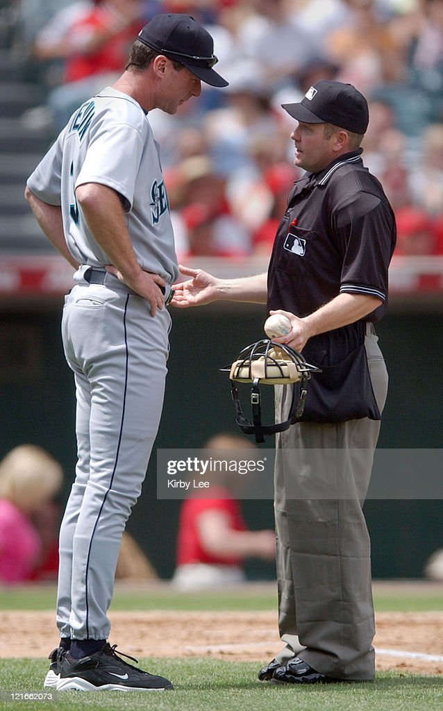 Seattle Mariners coach <a gi-track='captionPersonalityLinkClicked' href=/galleries/search?phrase=Bob+Melvin&family=editorial&specificpeople=239192 ng-click='$event.stopPropagation()'>Bob Melvin</a> (left). The Mariners defeated the Angels, 7-6.