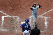 TORONTO ON JULY 23 Seattle Mariners designated hitter Nelson Cruz hits a 3 run shot in the 8th and celebrates as he crosses the plate Earlier in the...