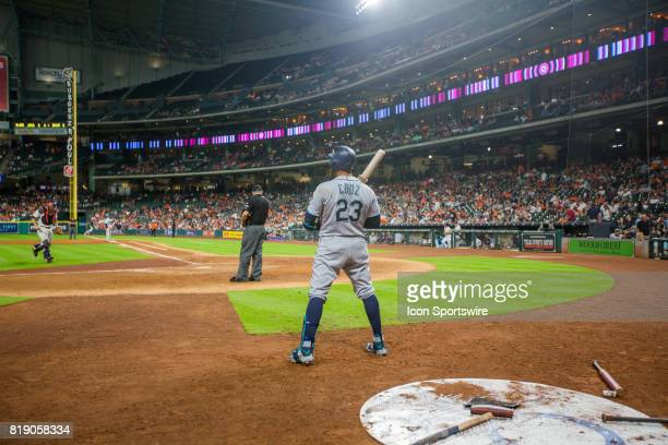 Seattle Mariners designated hitter Nelson Cruz in the batter circle in the eighth inning during an MLB baseball game between the Houston Astros and...