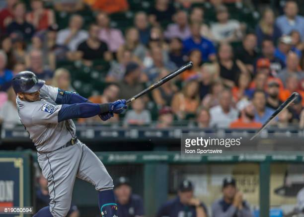 Seattle Mariners designated hitter Nelson Cruz snaps a bat during the MLB game between the Seattle Mariners and Houston Astros on July 17 2017 at...