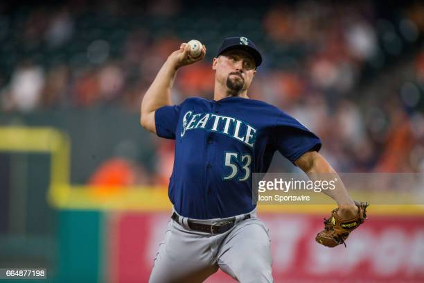 Seattle Mariners relief pitcher Dan Altavilla delivers the pitch in the eighth inning of an MLB baseball game between the Houston Astros and the...