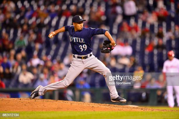 Seattle Mariners relief pitcher Edwin Diaz winds up to pitch during the Major League Baseball game between the Seattle Mariners and the Philadelphia...
