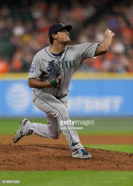 Seattle Mariners relief pitcher James Pazos takes over the mound in the sixth inning of the MLB game between the Seattle Mariners and Houston Astros...