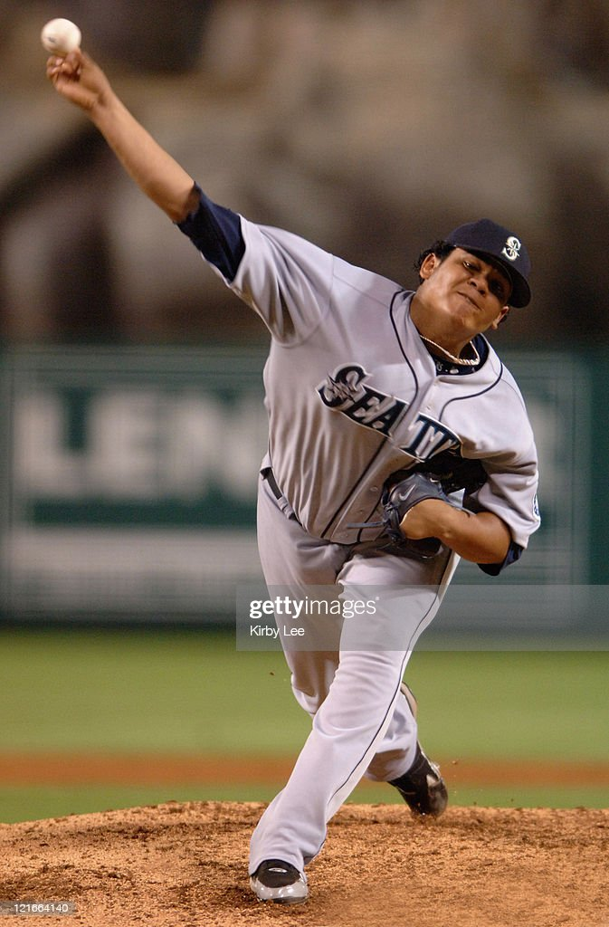 Seattle Mariners starter Felix Hernandez pitches during 30 loss to the Los Angeles Angels of Anaheim at Angel Stadium in Anaheim Calif on Friday...