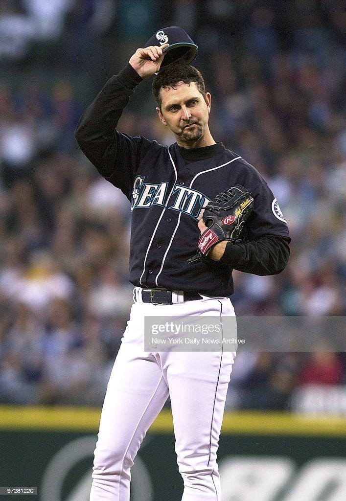 Seattle Mariners' starting pitcher Paul Abbott is visibly upset after giving up a threerun homer in the fifth inning of Game 4 of the American League...