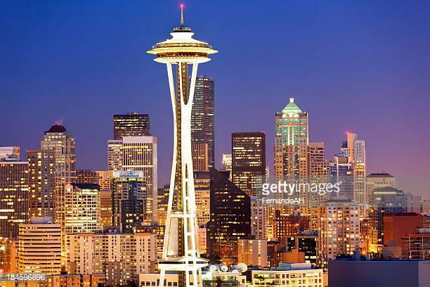 panorama de la ciudad de Seattle al atardecer