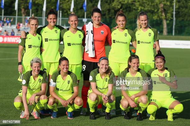 Seattle Reign FC before an NWSL match against FC Kansas City on June 17 2017 at Children's Mercy Victory Field in Kansas City MO The match ended in a...