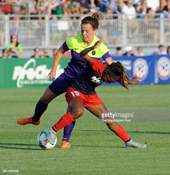 Seattle Reign FC defender Rachel Corsie is yellow carded after this takedown of Washington Spirit defender Crystal Dunn in the first half at Maureen...