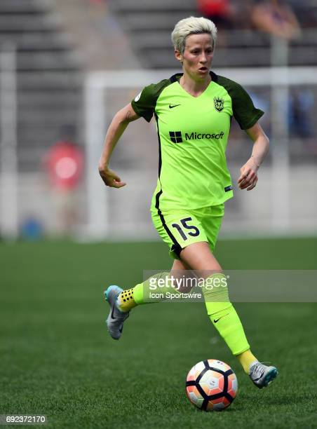 Seattle Reign FC forward Megan Rapinoe dribbles with the ball during a game between the Seattle Reign FC and the Chicago Red Stars on June 4 2017 at...