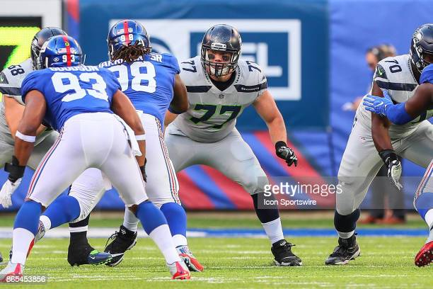 Seattle Seahawks center Ethan Pocic during the National Football League game between the New York Giants and the Seattle Seahawks on October 22 at...