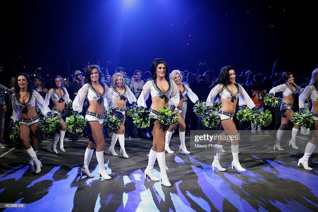 Seattle Seahawks cheerleaders perform onstage during CBS Radio's The Night Before at US Airways Center on January 31 2015 in Phoenix Arizona