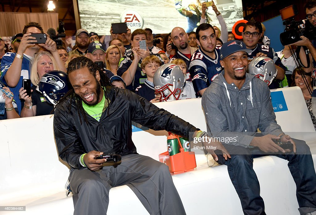 Seattle Seahawks cornerback Richard Sherman and New England Patriots running back Shane Vereen square off in 'Madden NFL 15' for Microsoft's Game...