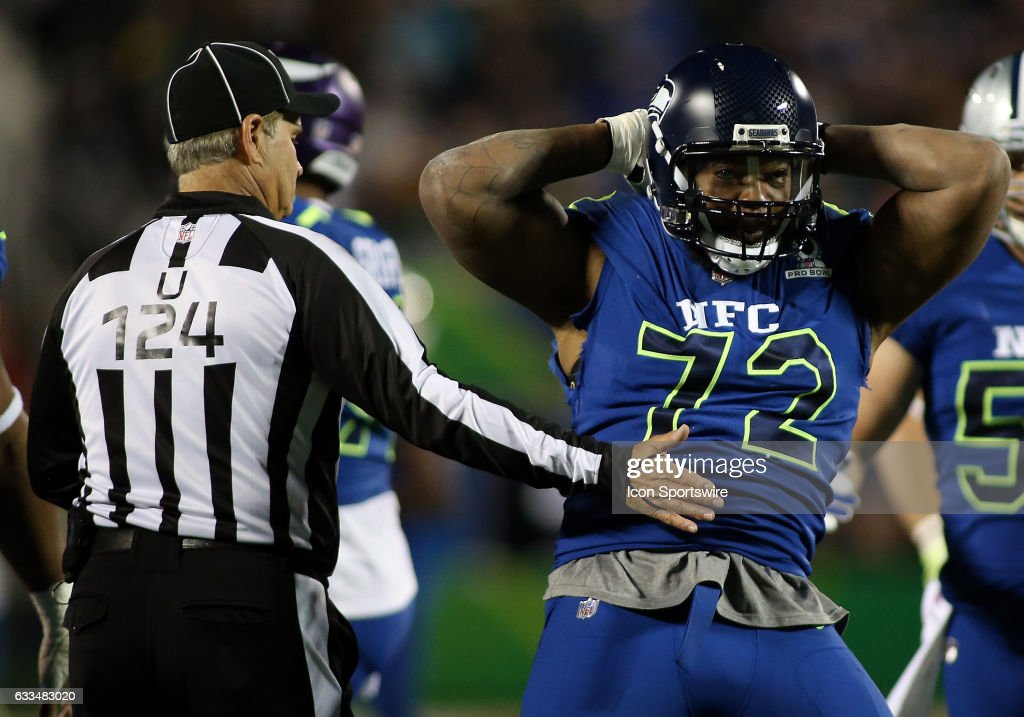 Seattle Seahawks defensive end Michael Bennett (72) celebrates during the 2017 Pro Bowl on January 29, 2017, at Camping World Stadium in Orlando, Florida.