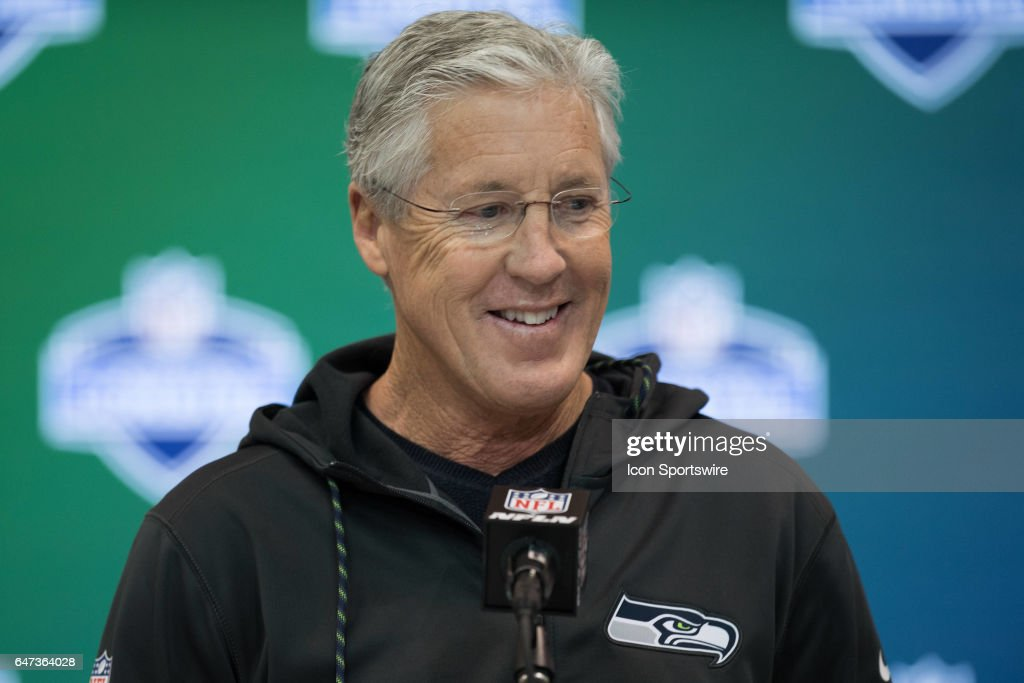 Seattle Seahawks head coach Pete Carroll answers questions from the podium during the NFL Scouting Combine on March 2, 2017 at Lucas Oil Stadium in Indianapolis, IN.