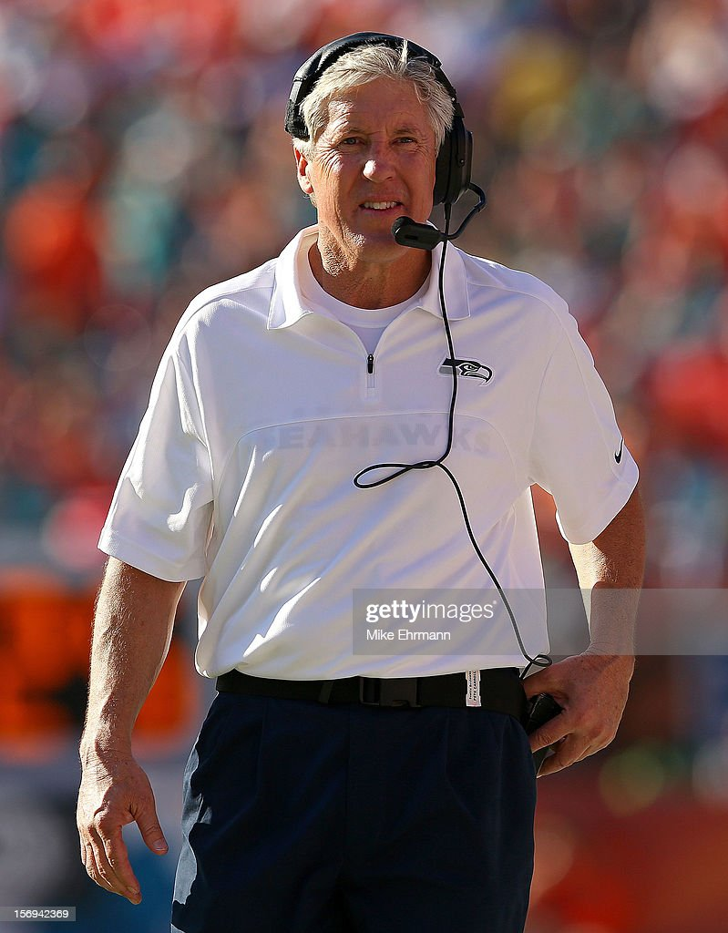Seattle Seahawks head coach <a gi-track='captionPersonalityLinkClicked' href=/galleries/search?phrase=Pete+Carroll+-+Head+Coach&family=editorial&specificpeople=213057 ng-click='$event.stopPropagation()'>Pete Carroll</a> looks on during a game against the Miami Dolphins at Sun Life Stadium on November 25, 2012 in Miami Gardens, Florida.