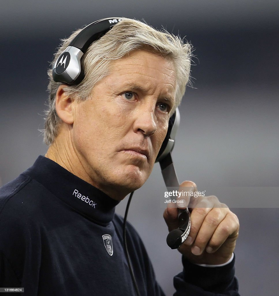 Seattle Seahawks head coach Pete Carroll looks on from the side line against the Dallas Cowboys at Cowboys Stadium on November 6, 2011 in Arlington, Texas. The Cowboys defeated the Seahawks 23-13.