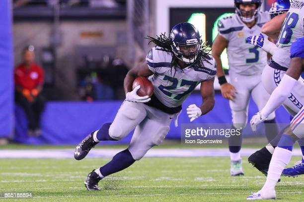 Seattle Seahawks running back Eddie Lacy runs during the National Football League game between the New York Giants and the Seattle Seahawks on...