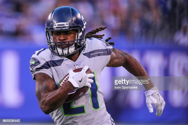 b5a9540bdd9 Seattle Seahawks running back JD McKissic runs during the National Football  League game between the New ...