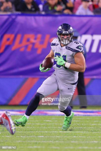 Seattle Seahawks tight end Nick Vannett runs after the catch during the National Football League game between the New York Giants and the Seattle...