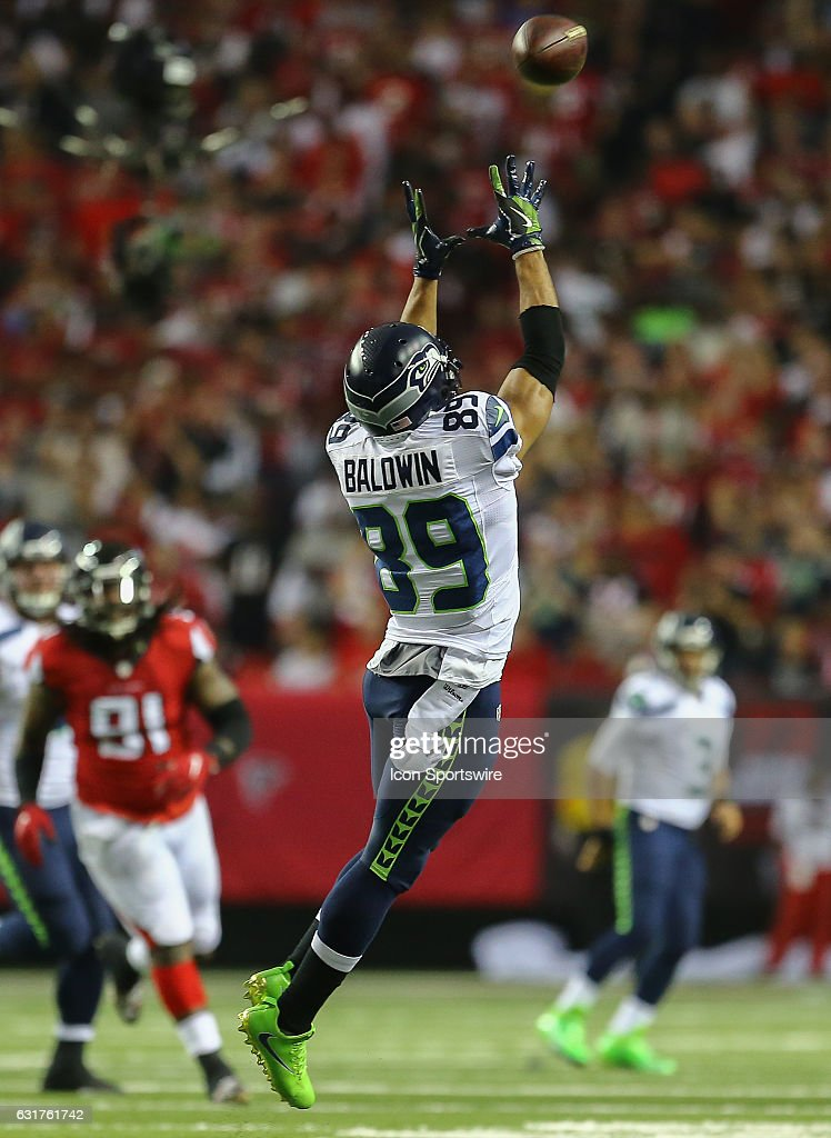 Seattle Seahawks wide receiver Doug Baldwin (89) catches a ball during the first half of the NFC Divisional Playoff game between the Seattle Seahawks and the Atlanta Falcons on January 14, 2017, at the Georgia Dome in Atlanta, Georgia. The Falcons beat the Seahawks 36-20.