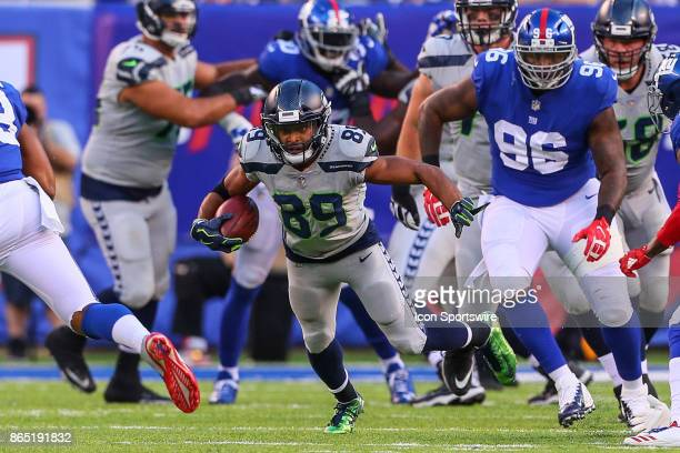 Seattle Seahawks wide receiver Doug Baldwin runs after the catch during the National Football League game between the New York Giants and the Seattle...