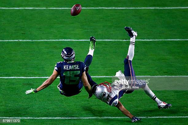 Seattle Seahawks wide receiver Jermaine Kearse goes up for the ball against New England Patriots defensive back Malcolm Butler and has it come back...
