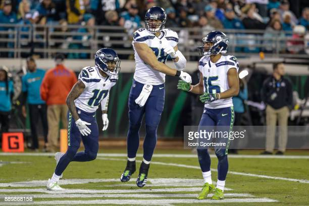 Seattle Seahawks wide receiver Paul Richardson Seattle Seahawks tight end Jimmy Graham and Seattle Seahawks wide receiver Tyler Lockett celebrate a...