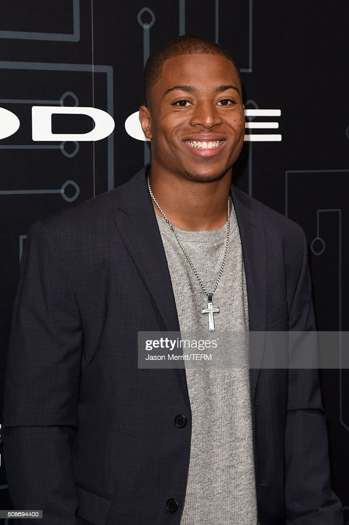 Seattle Seahawks wide receiver <a gi-track='captionPersonalityLinkClicked' href=/galleries/search?phrase=Tyler+Lockett&family=editorial&specificpeople=8364808 ng-click='$event.stopPropagation()'>Tyler Lockett</a> arrives at The Playboy Party during Super Bowl Weekend, which celebrated the future of Playboy and its newly redesigned magazine in a transformed space within Lot A of AT&T Park on February 5, 2016 in San Francisco, California.