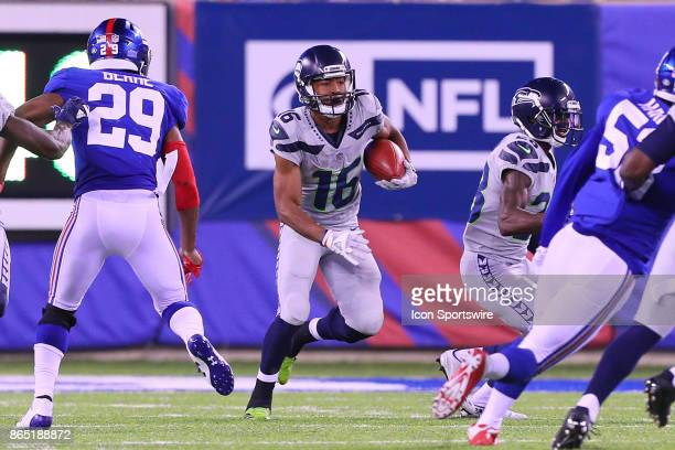 Seattle Seahawks wide receiver Tyler Lockett returns a kick during the National Football League game between the New York Giants and the Seattle...