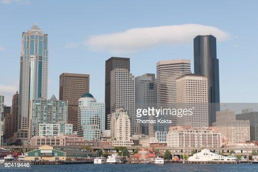 Seattle Skyline from Elliott Bay : Stock Photo
