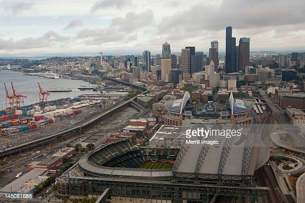 Seattle skyscrapers, stadiums and Port