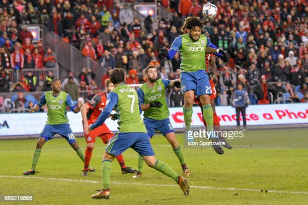 Seattle Sounders Defender Roman Torres leaps to head the ball during the MLS Cup Final played between the Seattle Sounders and Toronto FC December 09...