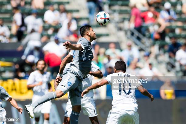 Seattle Sounders defender Tony Alfaro goes up for a header during the game between the LA Galaxy and the Seattle Sounders on April 23 at StubHub...